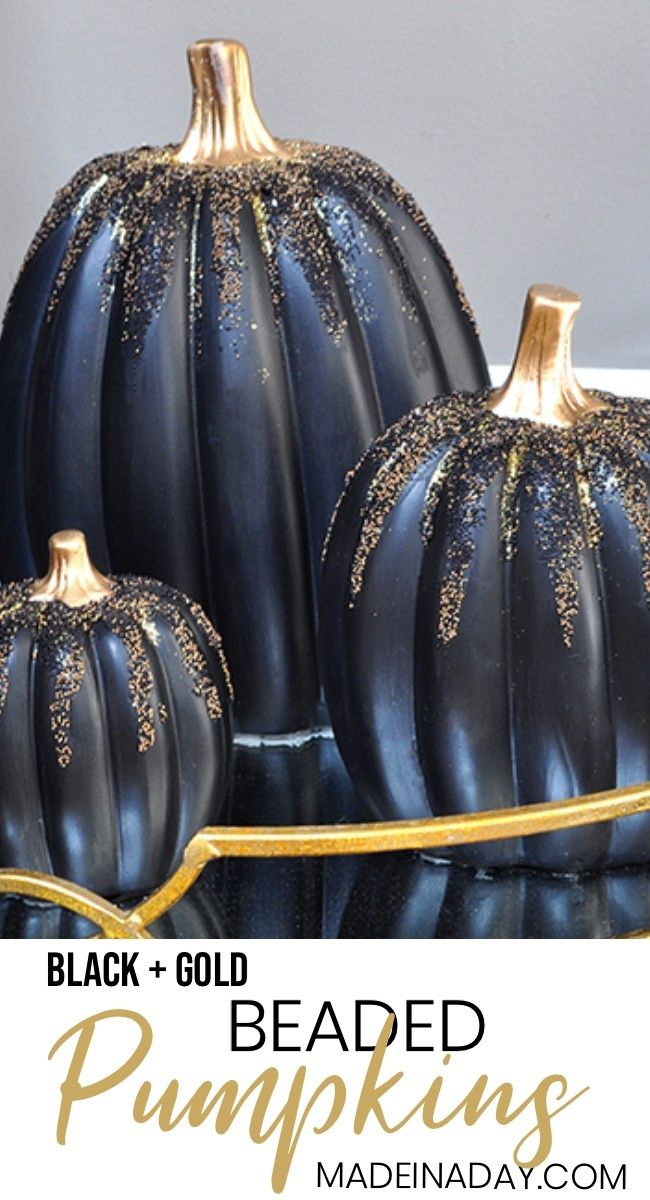 Gold and Black Beaded Pumpkins, haunted black gold Halloween entryway tour, Crystal ball, Gold Skeleton, victorian fringe, flying witch, gold black Halloween #sponsored #blackpumpkin #pumpkin #Fallpumpkin #Beadedpumpkin #glitterpumpkin #Halloweendecor #halloweendecorations #DIYpumpkins #blackgoldHalloween