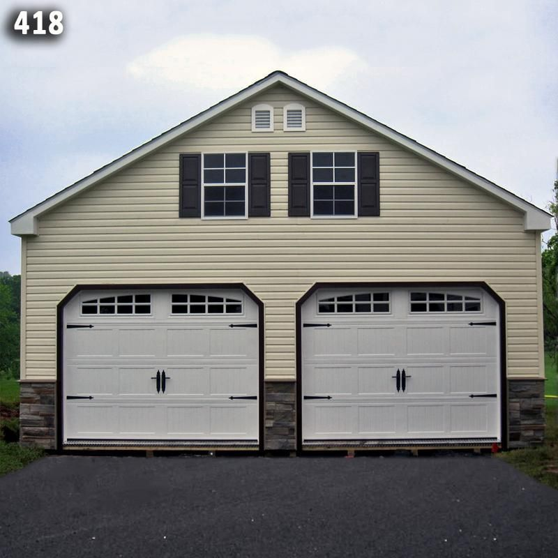 24x24 Two Car Two Story Garage - Vinyl Siding - Stone Front - A ...