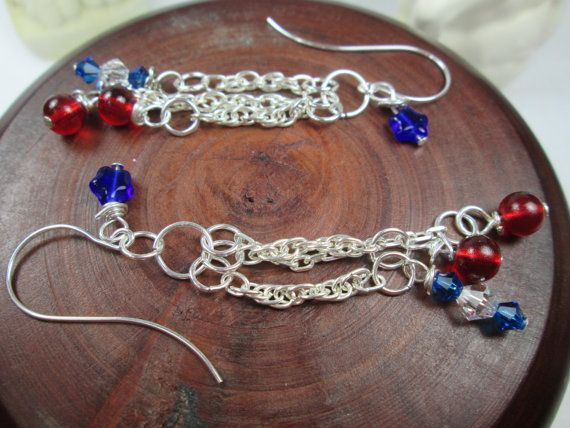 WONDERFUL RED, WHITE AND BLUE DANGLE EARRINGS PERFECT FOR ANY SUMMER HOLIDAY LIKE MEMORIAL DAY, THE 4TH OF JULY OR LABOR DAY.  THESE CUTE EARRINGS HAVE RED AND BLUE GLASS B...