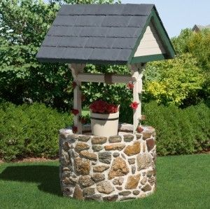 I Have A Well Head In My Front Yard I Want To Cover I Like This With The Base Filled With Insulation To Prevent Freez Outdoor Stone Wishing Well Outdoor Decor