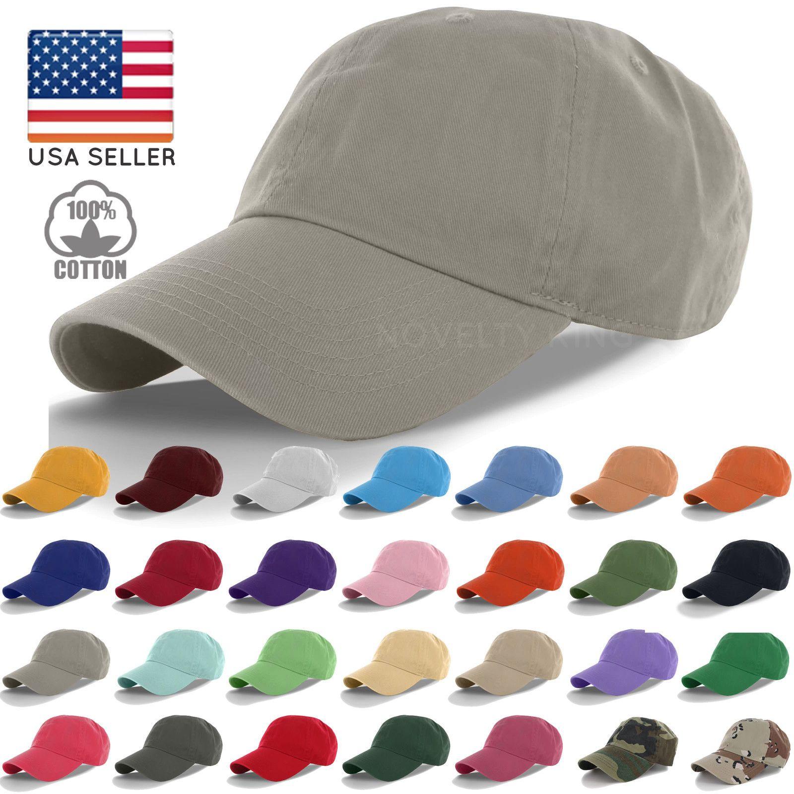 Cotton Cap Baseball Caps Hat Adjustable Polo Style Washed Plain Solid Visor bcbeca6c50ad