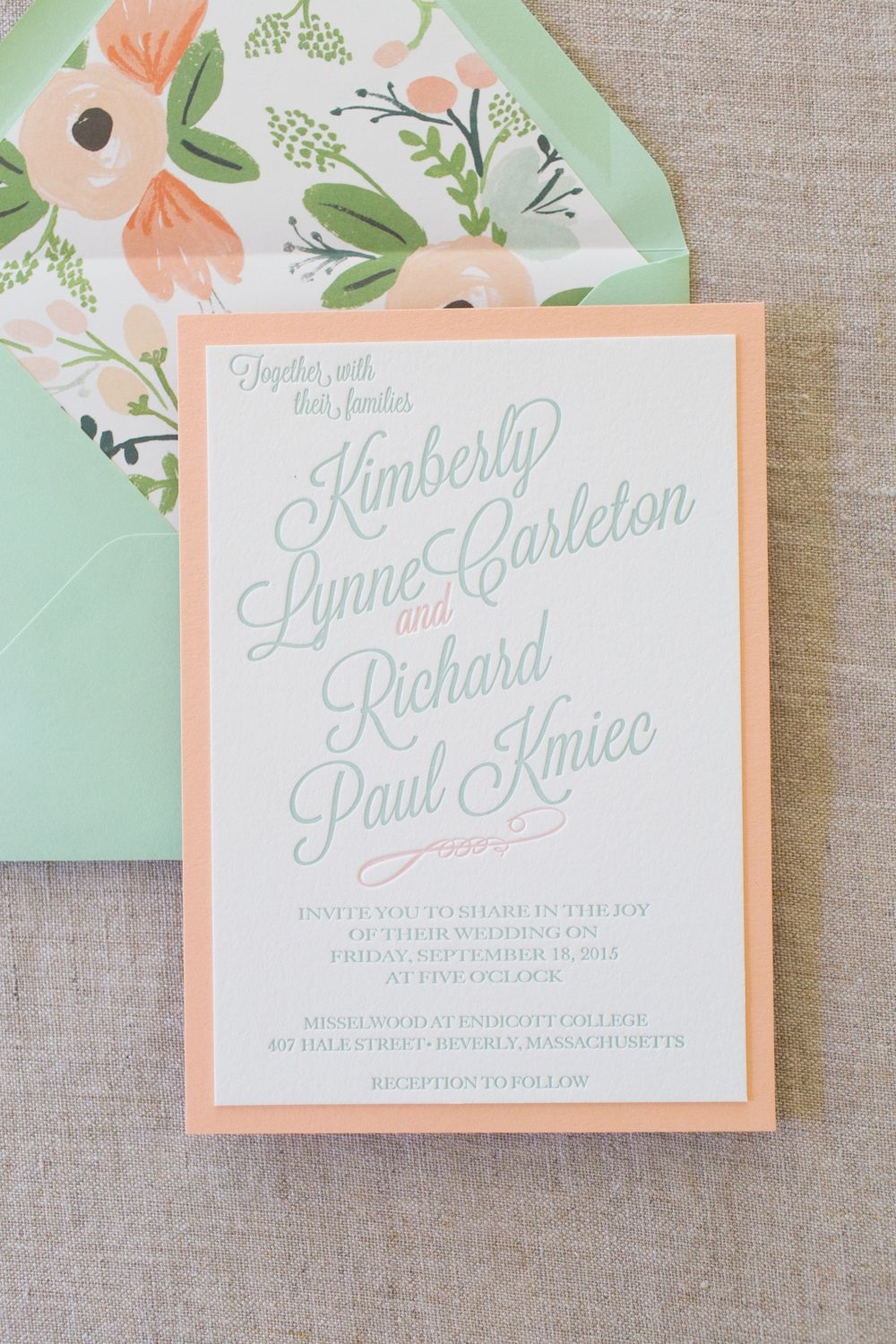 Mint And Peach Mounted Letterpress Wedding Invitations Minted Wedding Invitations Creative Wedding Invitations Peach Wedding Invitations