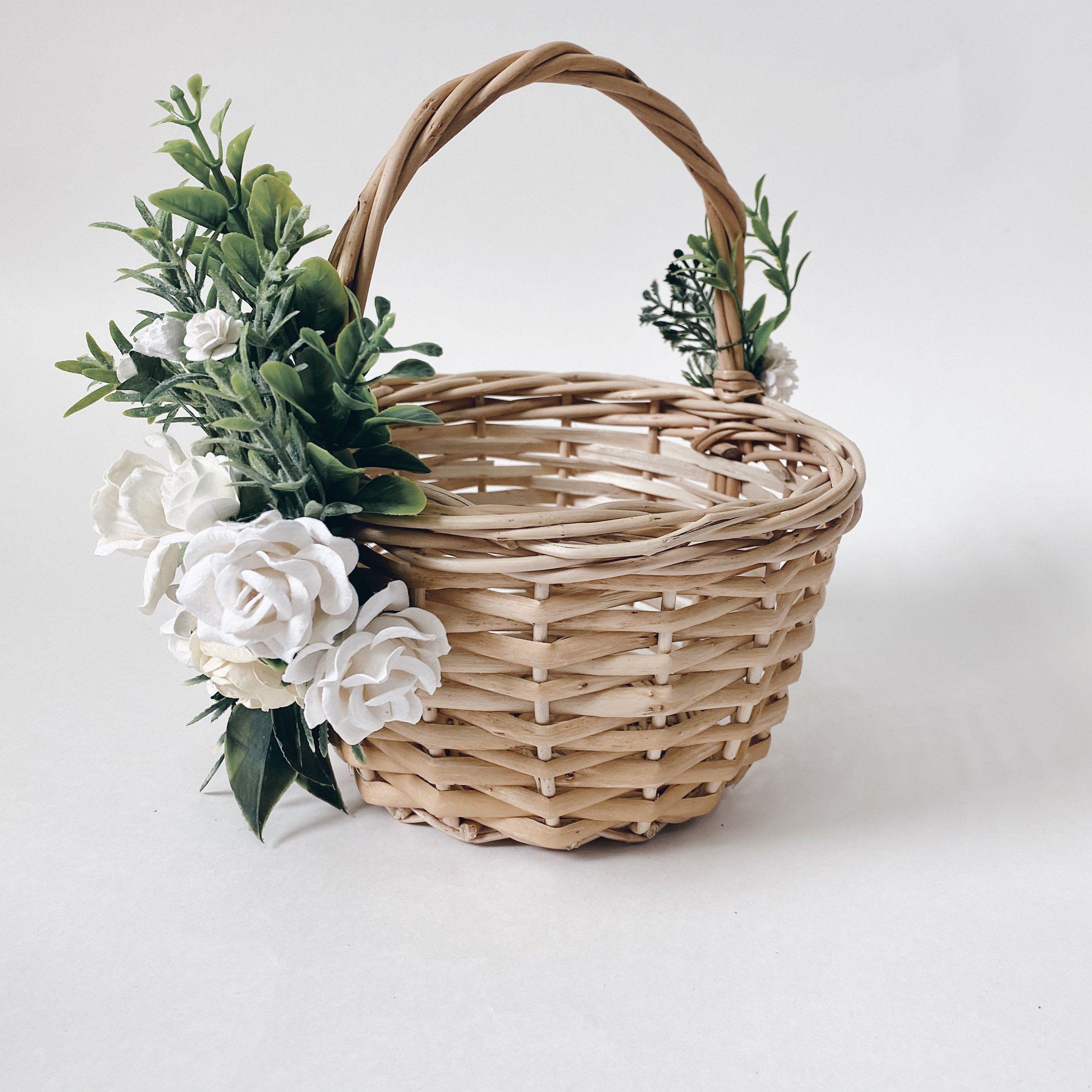 Flower girl basket wicker basket twig basket rustic basket
