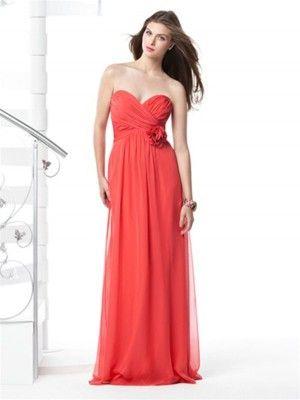 Herzförmig Gefaltet Rot Lang Chiffon Best verkauft Brautjungfernkleid Brautkleider