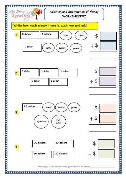 Grade 3 Maths Worksheets (102 Addition and Subtraction of Money - subtracting money worksheet