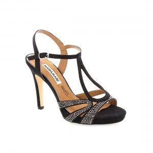 f52dd9854e1 Sandalias de color negro en antelina con brillantes y con tacón alto para  ir muy elegante