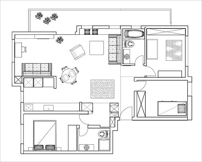 Modern Vintage Interior Applying in Modern Apartment Interior : Floor Plan  Of The Modern Apartment Finished