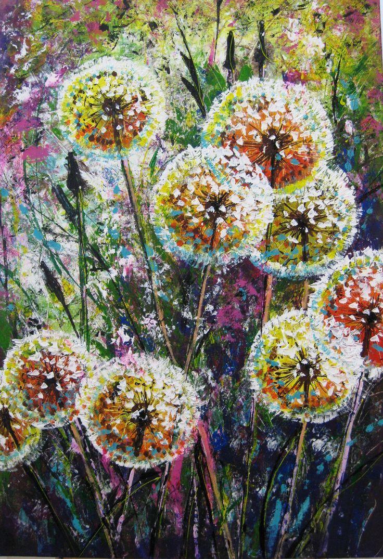 dandelion flower art living room wall decor acrylic on modern acrylic paintings for living room id=98149