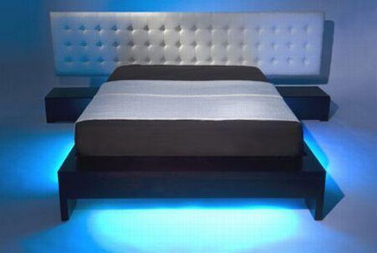blue neon light up bed - Blue Bed Frame