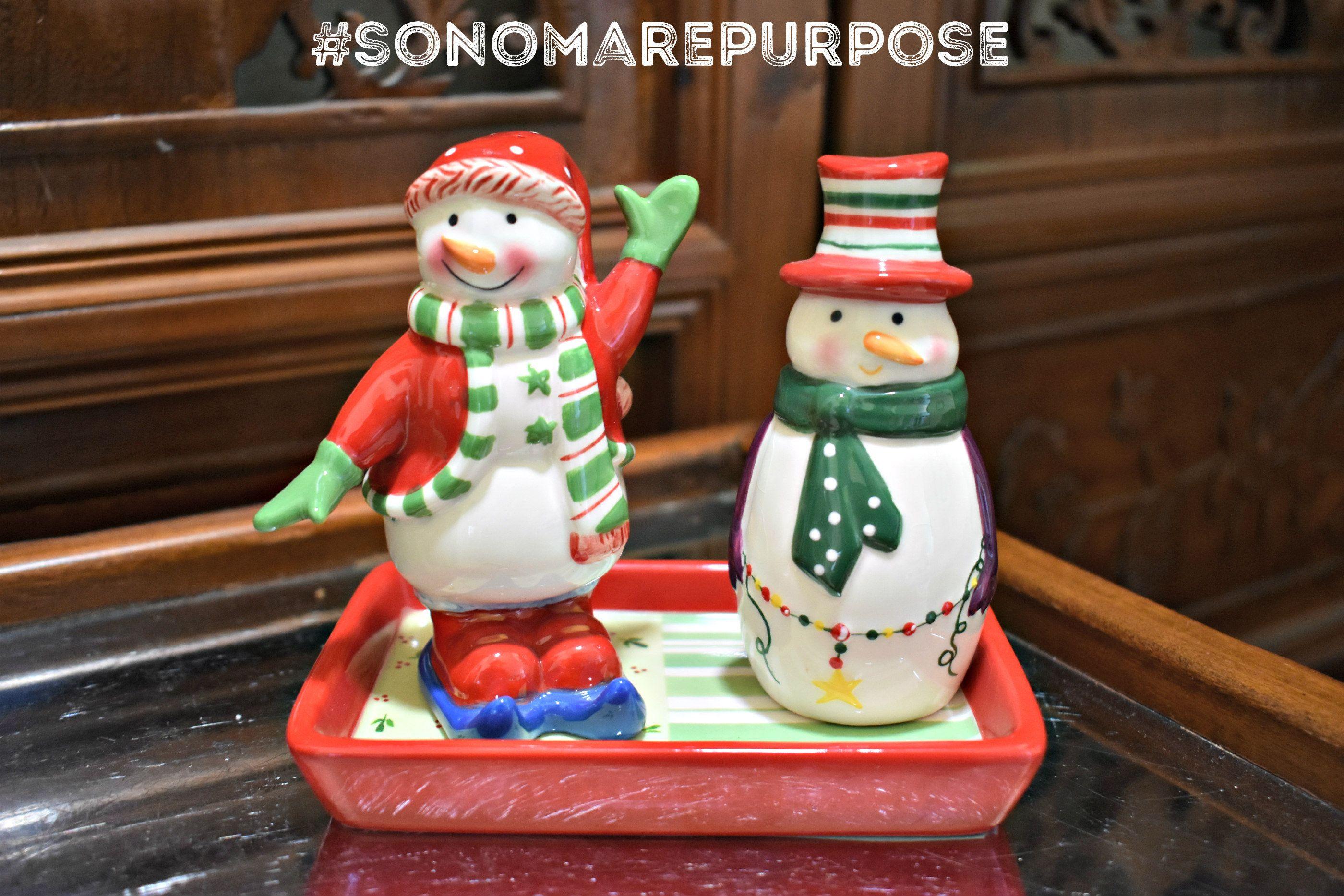 Ganz Christmas Snowman Salt pepper shaker with tray 3 pc set, Salt & Pepper, Ganz Christmas Salt and Pepper Shakers, Snowman Decorations