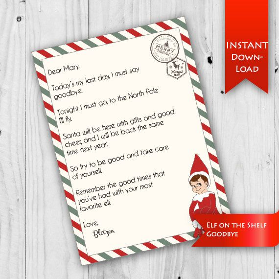 elf on the shelf goodbye letter editable fields to customize at home
