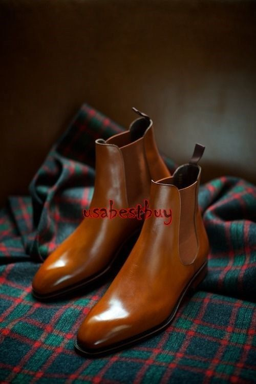 Mens Brown Genuine Real Leather Formal Shoes Handmade Mens Chelsea Ankle Boots
