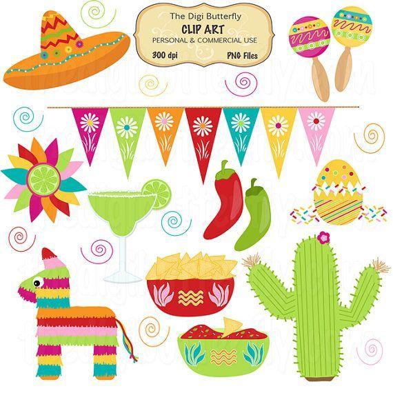 Clip Art Fiesta Borders Ole Fiesta Clip Art Set Cinco De Mayo By Thedigibutterfly 5 00 Mexican Party Theme Mexican Birthday Mexican Party