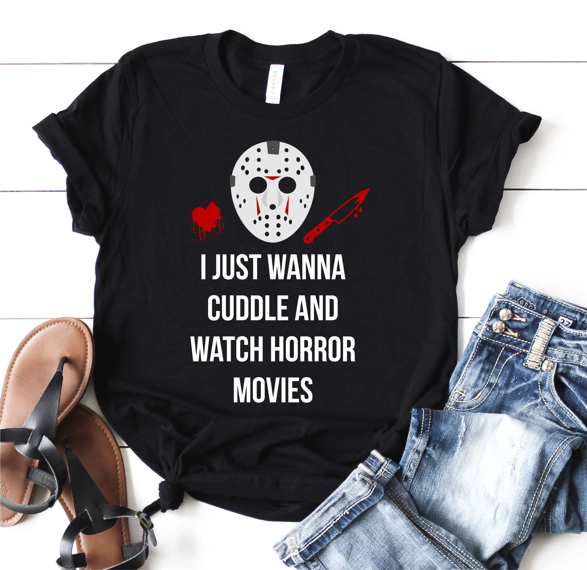 Halloween Tshirt, Cuddle and Watch Horror Movies Shirt