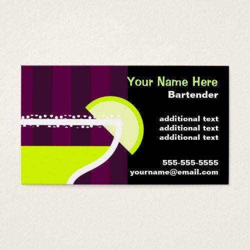 Bartender Business Card Bar Attendant Bartender Business Cards
