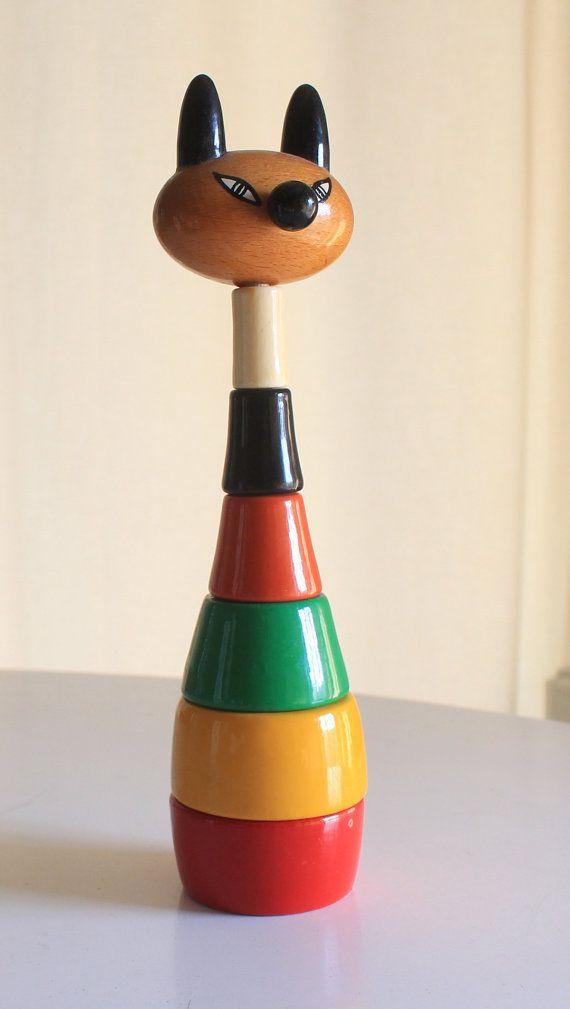 Kouvalias Wooden Toys ~ Vintage wooden cat toy by kouvalias made in