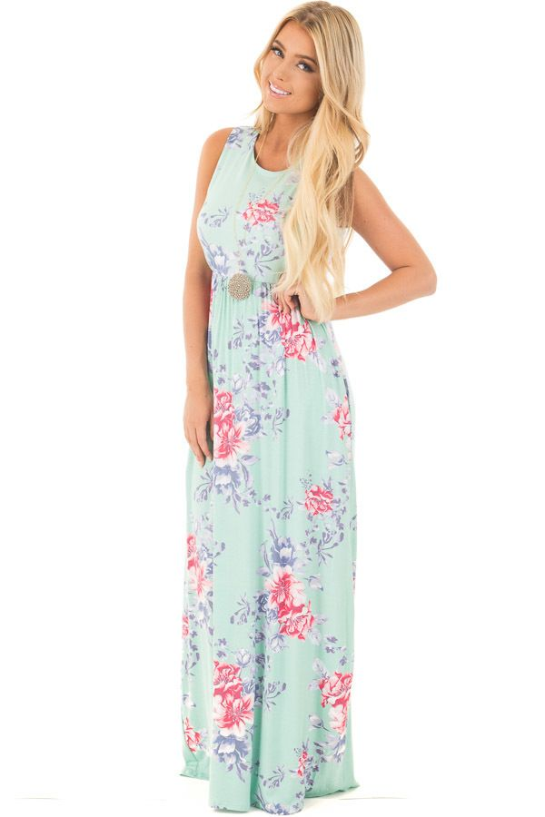 bd6ac317639 Mint Floral Print Sleeveless Maxi Dress with Side Pockets