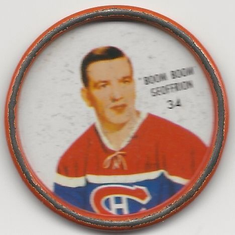 Boom Boom Geoffrion 1962-63 Montreal Canadiens Shirriff Hockey Coin # 34