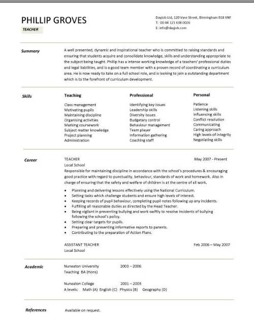 Teacher CV template, lessons, pupils, teaching job, school - model resume for teaching profession