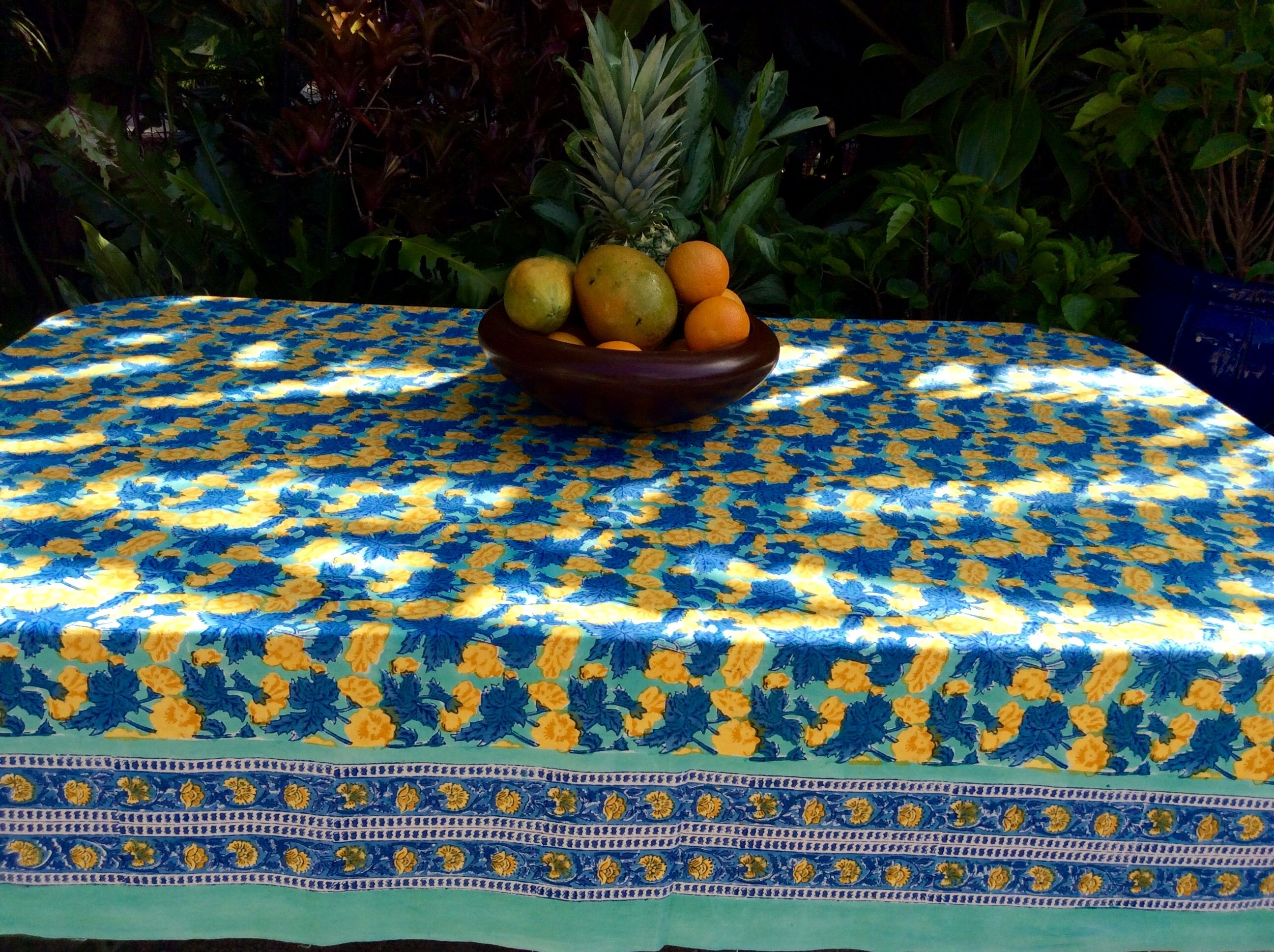 Lovely Block Print Cotton Tablecloth By Sundara Home. Hand Made In India. $75.00.  Www
