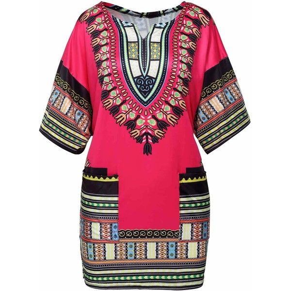 Rose Side Slit Split Neck Dashiki Blouse ($21) ❤ liked on Polyvore featuring tops, blouses, rose, rose blouse, long tops, side slit top, long sleeve tops and sleeve blouse