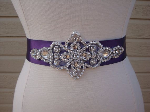 Bridal Sash Wedding Dress Belt Purple By BellaFleurBridal 3500