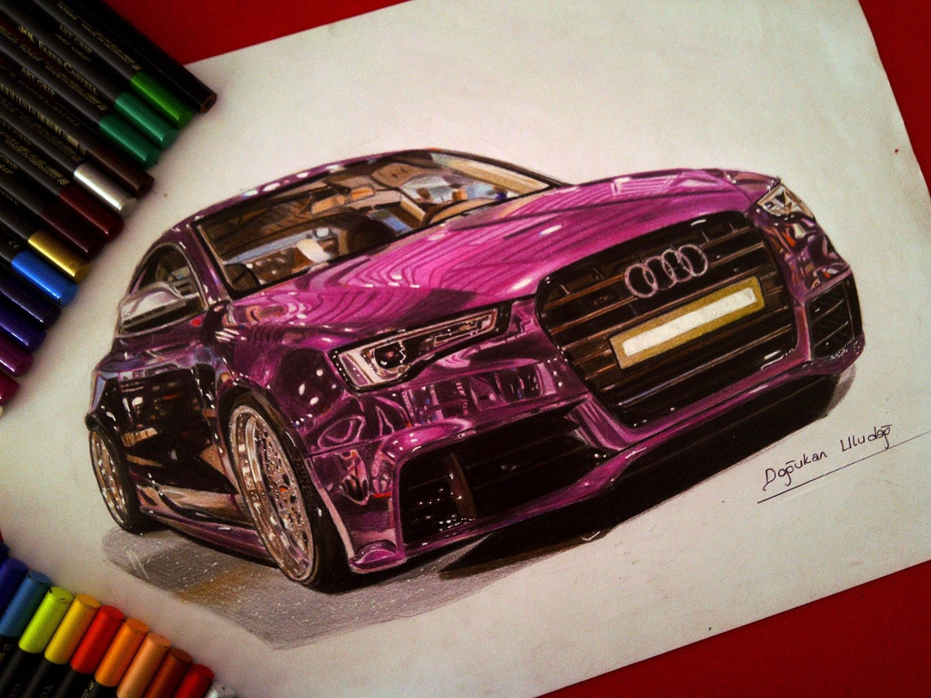 Drawings of Ultra Shiny Automobiles | Illusions, Markers and Reflection