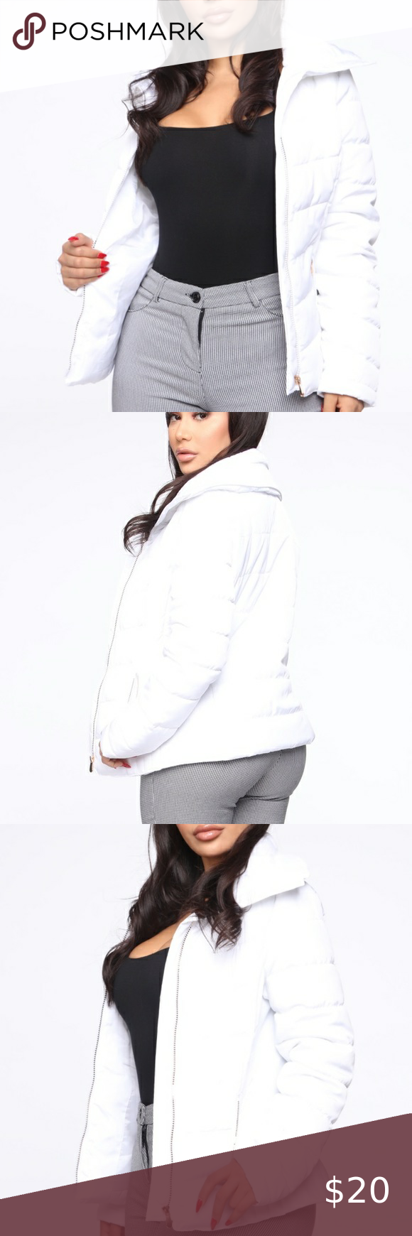 Photo of [ fashion nova ] white puffer jacket very cute worn a couple times! but has no f…