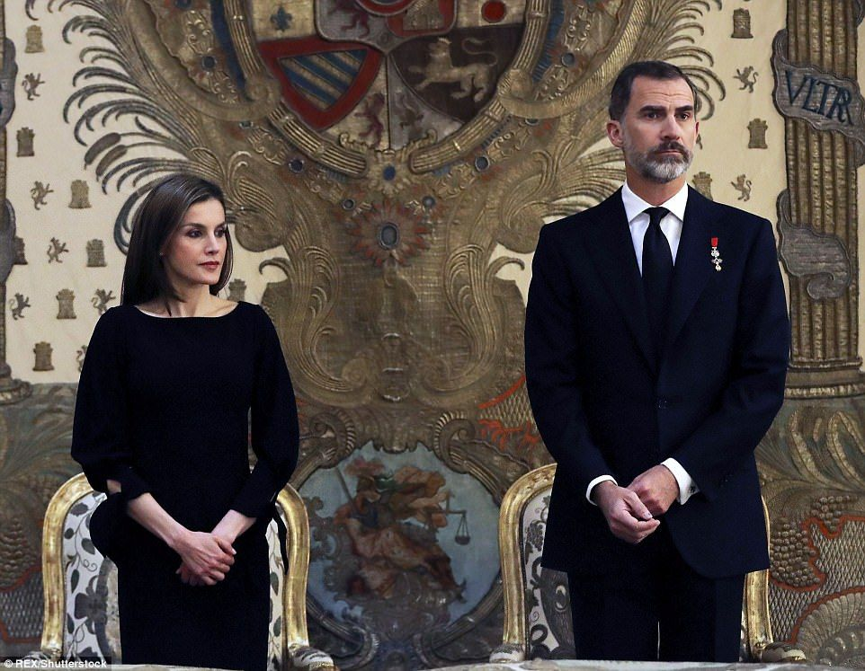 11 May 2017 - Queen Letizia and King Felipe attend Infanta Alicia's funeral - dress by