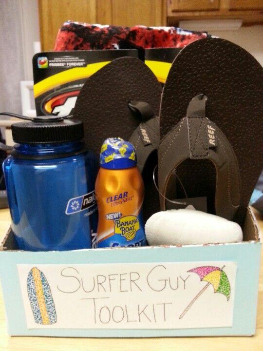 """""""Surfer Guy Toolkit"""" gift basket Beach guy"""