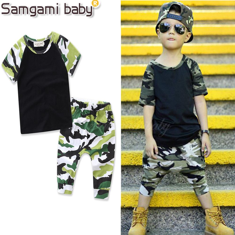 Kids Clothing Baby Boy Clothes Summer New Fashion Cotton Tops Camouflage Shorts