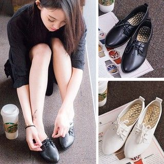 906b185f2d8 Womens Casual Flats Slip On Pointed Toe Loafers Lace Up Ballet Boat Single  Shoes