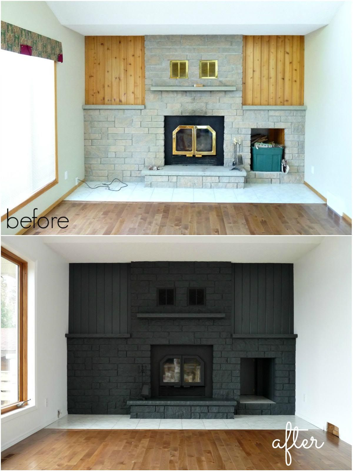 Painted brick fireplace makeover What a statement this makes