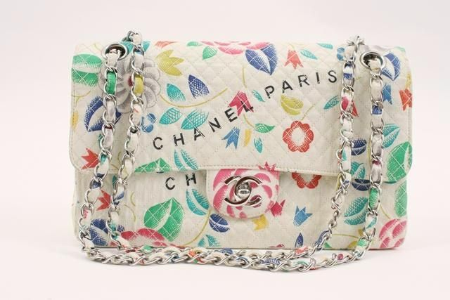9011b1e0c698 Rare Vintage CHANEL Flower Print Flap Bag | VINTAGE CHANEL HANDBAGS ...
