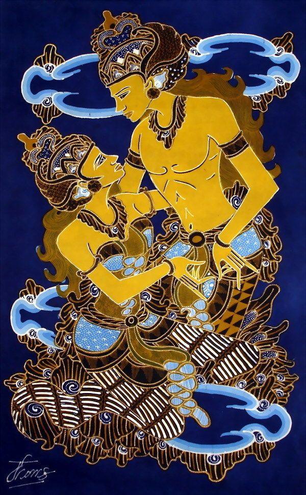 Wall Decor Wayang Rama and Shinta Figure no framed w236 | Batik ...