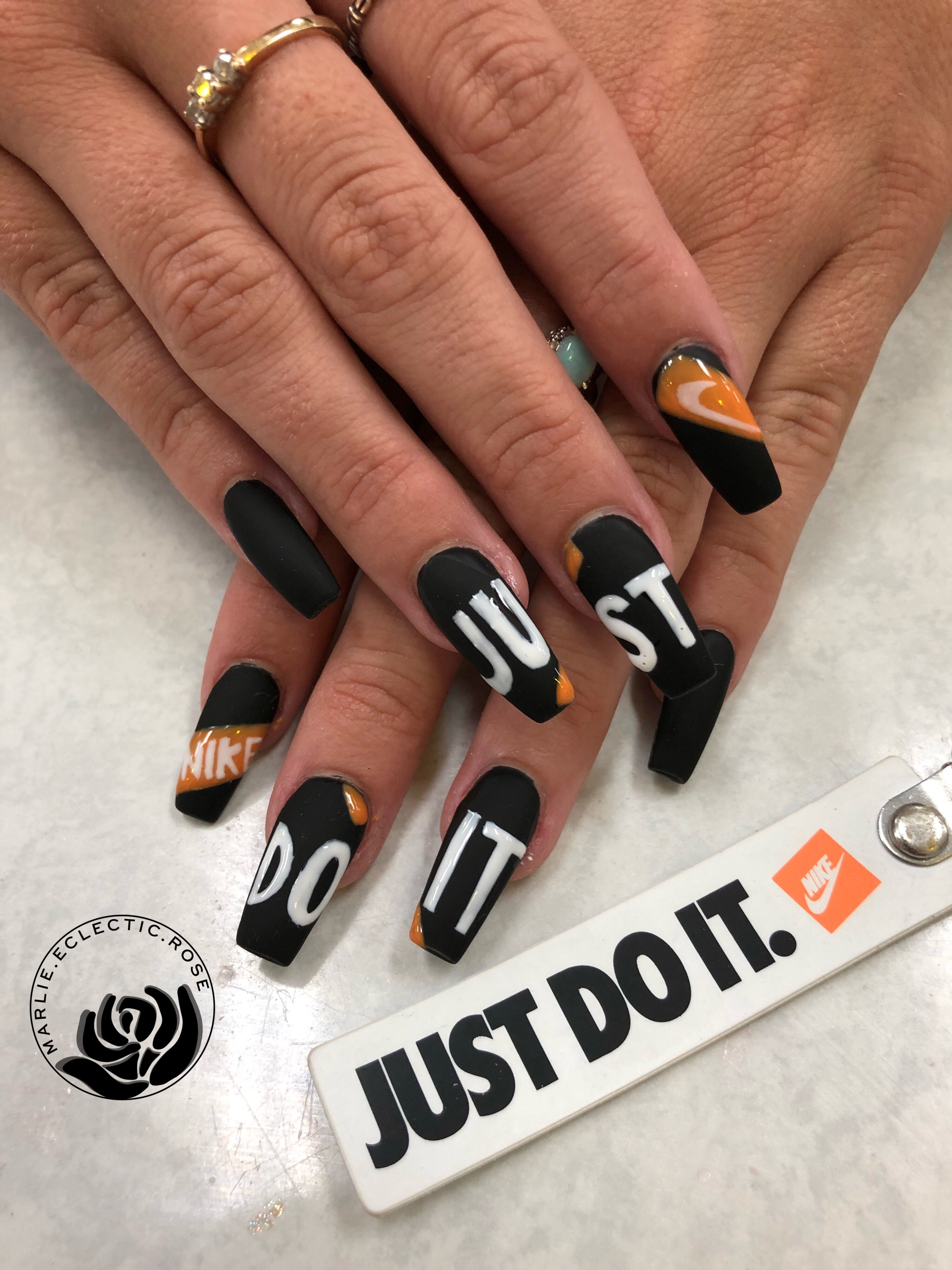 Nike Nails Dip Powder Nails Nike Nails Pretty Acrylic Nails