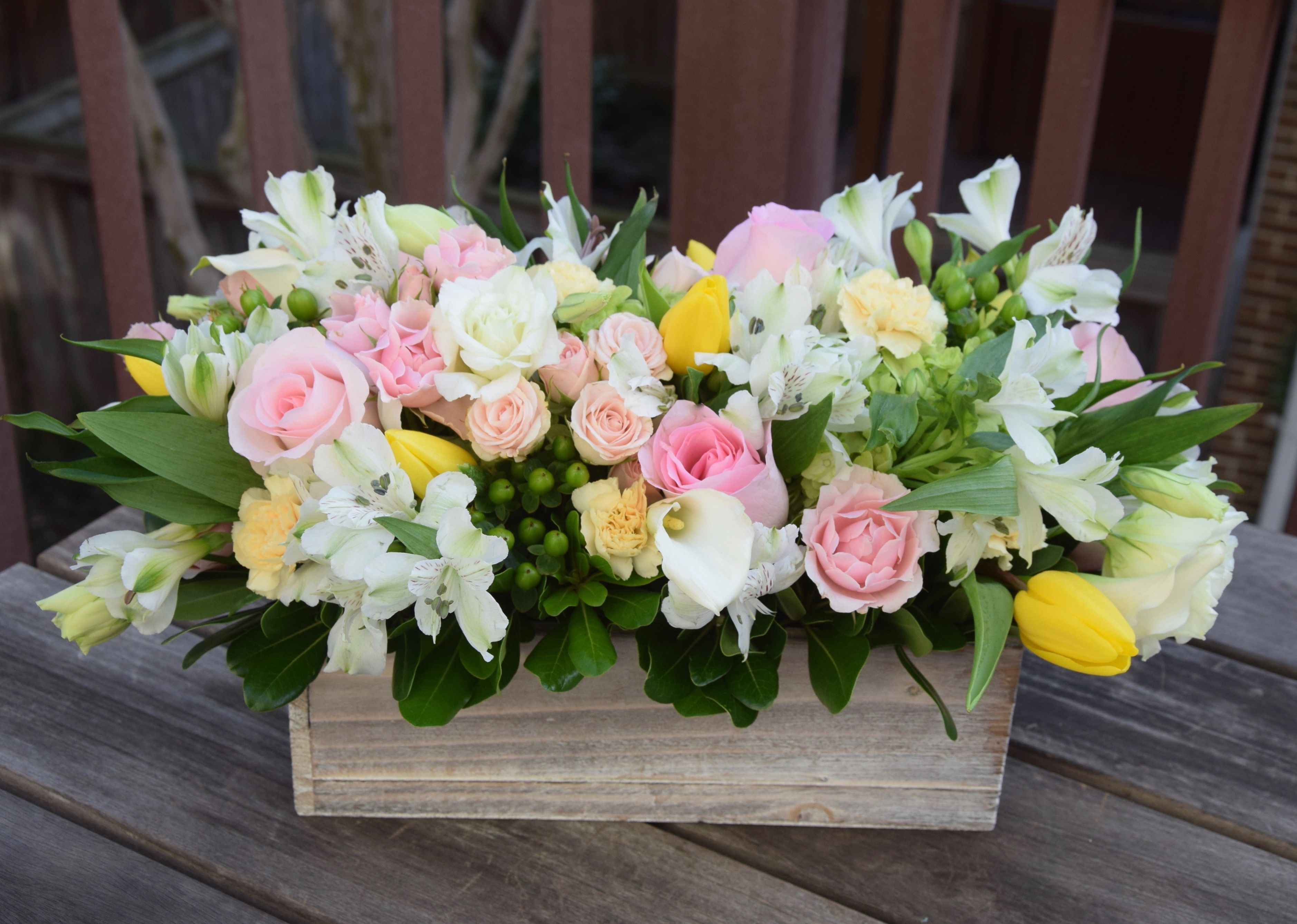 Floral Gift Box For A Blooming Garden Flower Arrangements