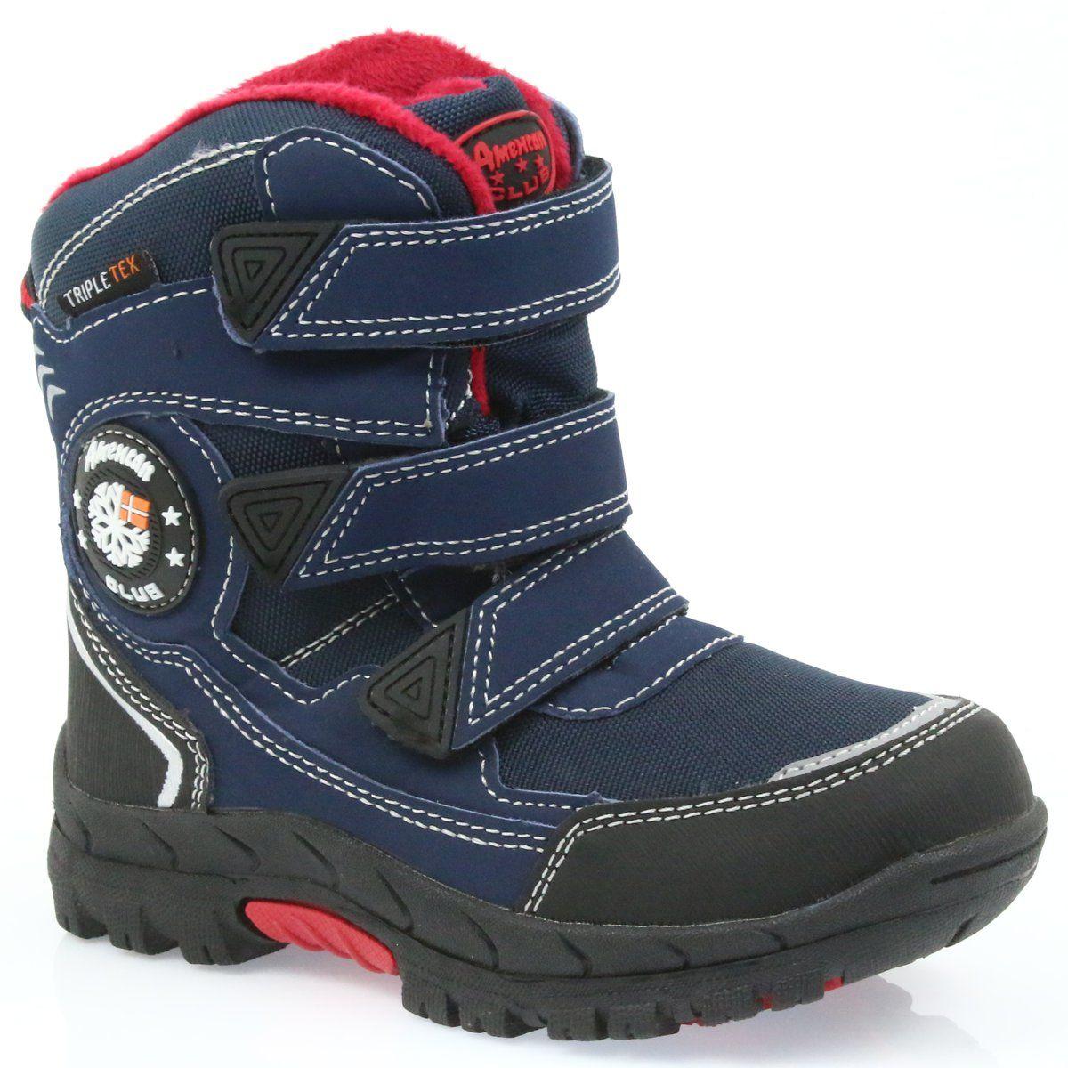 American Club American Kozaki Buty Zimowe Z Membrana 0926 Czarne Czerwone Granatowe Boots Shoes Winter Boot