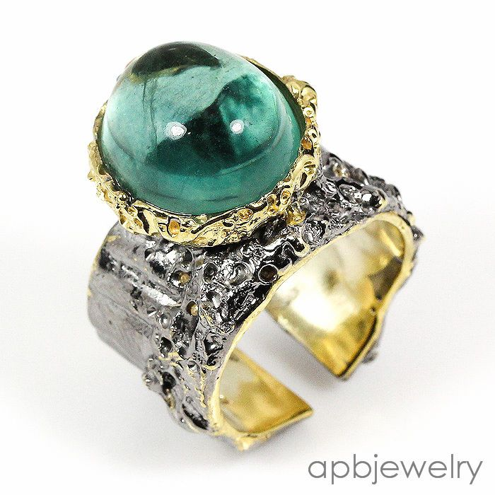Top aa+ 10ct Natural Fluorite 925 Sterling Silver Ring Freesize/R34184 #APBJewelry #Ring