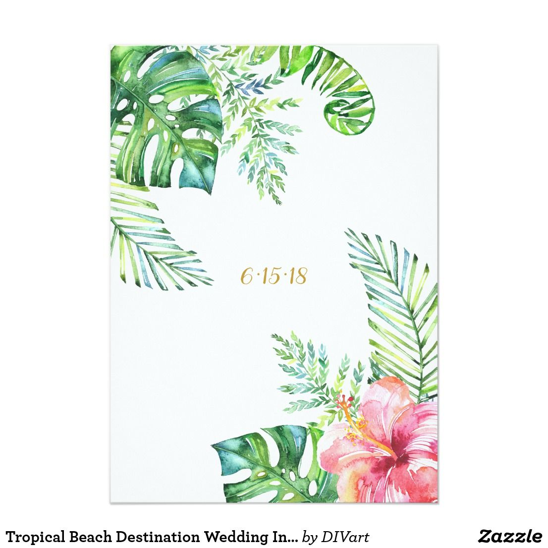 Faire-part de mariage tropical de destination de | Zazzle.fr