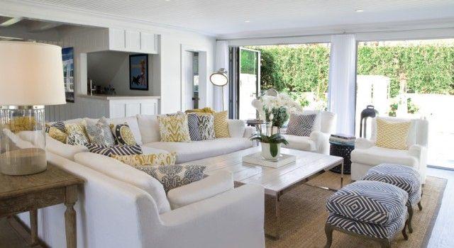CHIC COASTAL LIVING: East Hampton Beach House. Love The Pillow Patterns