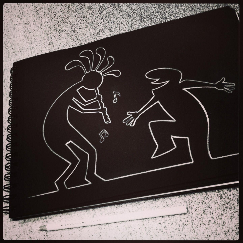 """By Stefano Di Lollo  (Prismacolor white pencil #PC938, Fabriano black Ingres sketchbook). *My tribute to Osvaldo Cavandoli's """"La Linea"""""""
