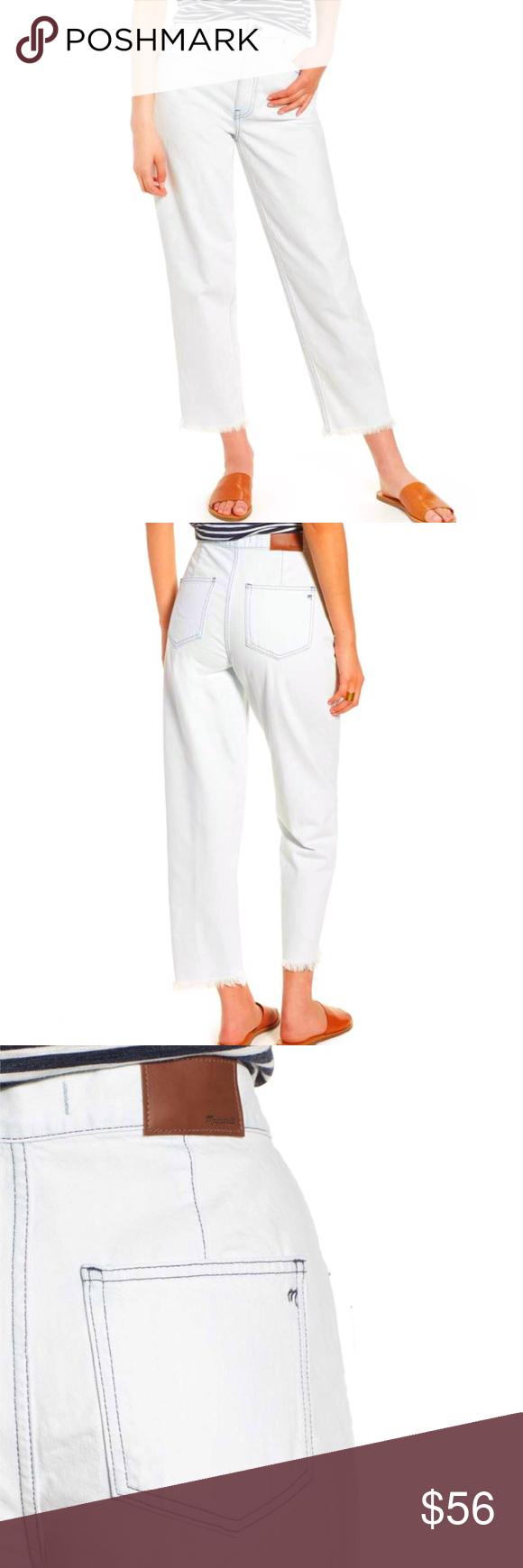 MADEWELL Tapered WideLeg Raw Hem Crop Jeans! 25 MADEWELL