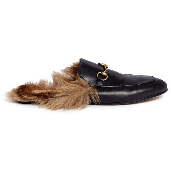 Gucci Fur lined leather loafer slides