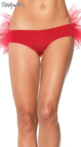 Spandex Tanga Panty with Ruffle Back - Spandex tanga panty with tulle ruffle back.