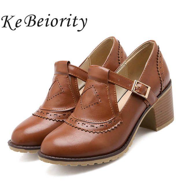 ab446fb1b Plus size 34-43 sapatos de salto médio das mulheres dedo do pé redondo  fivela senhoras sapatos estilo oxford sapatos para as mulheres mocassins de  salto ...