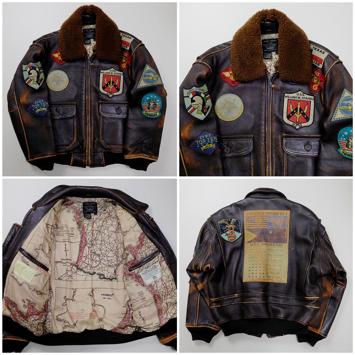 00fca5ad228 Vintage Rare AVIREX US WILLIAM M. STANDLE Texas Patches Patch Military  Flight Bomber Leather Jacket ( SIZE   XS ) - Japan Lover Me Store