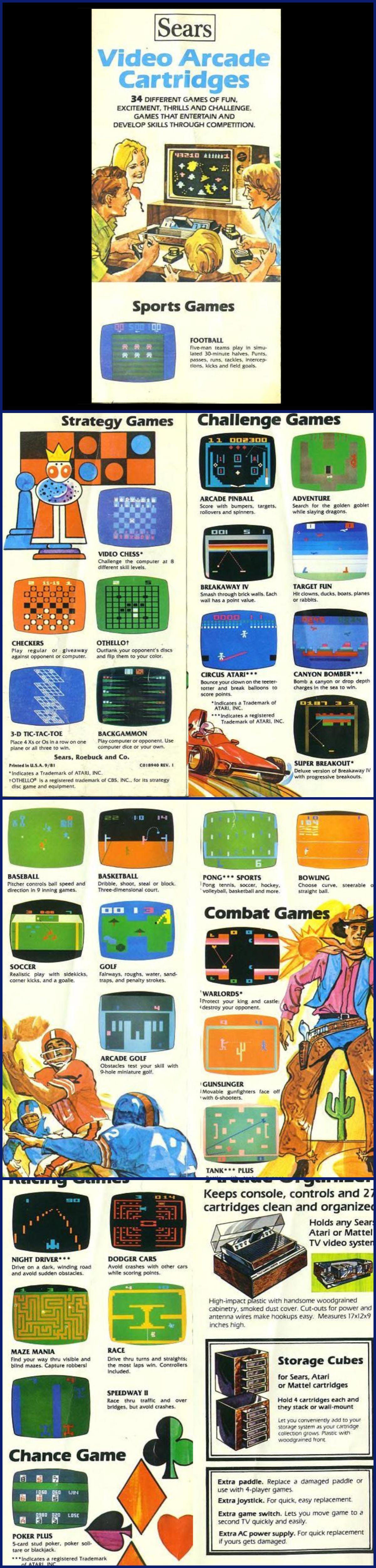 Sears' Atari Catalog of Video Arcade Cartridges (September