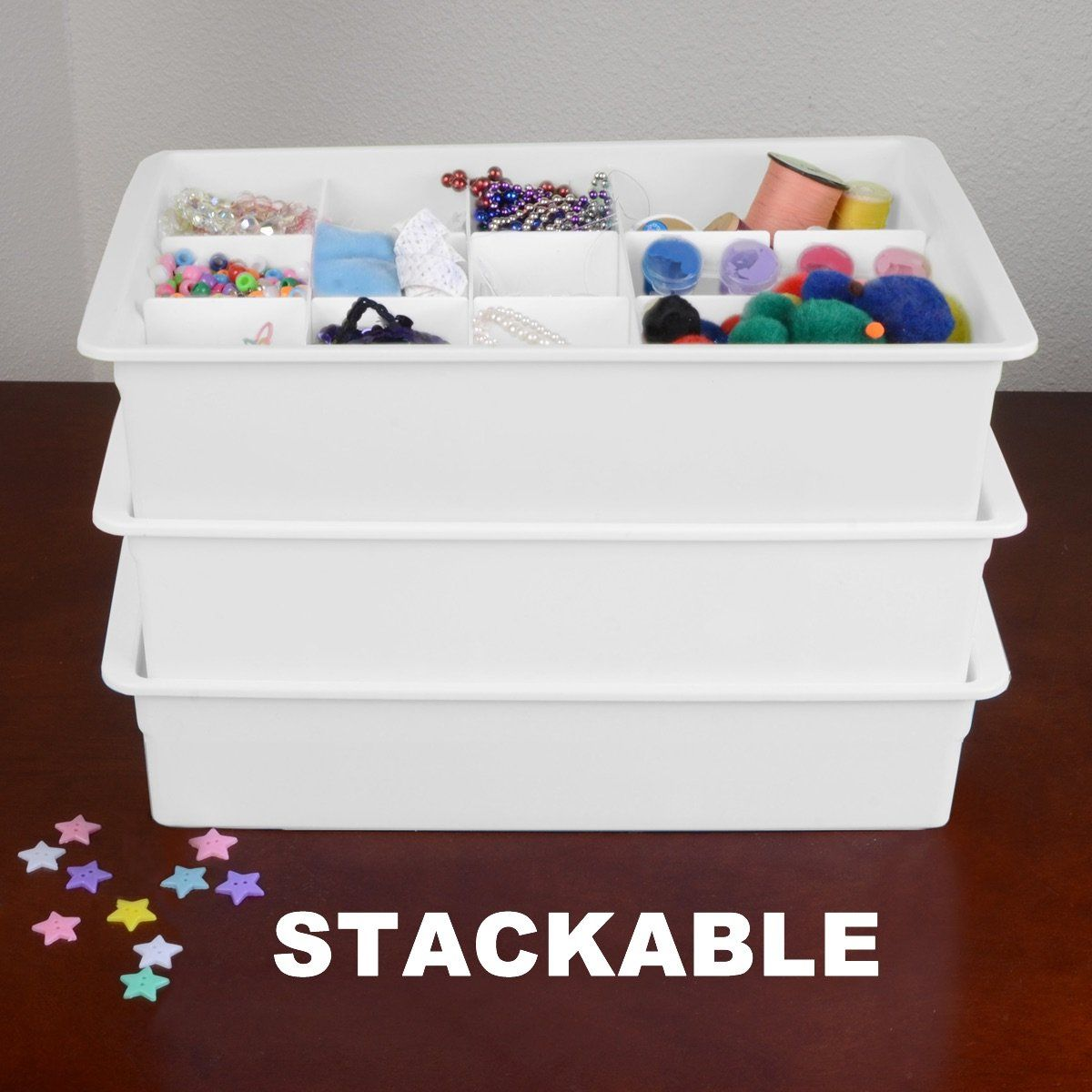 The Art Gallery Amazon Adjustable Drawer Organizers Set With Customizable Dividers in Stackable