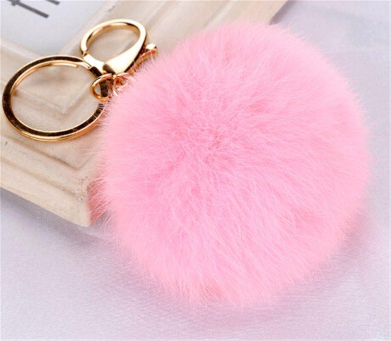 Women/'s Furry Ball Keyrings Fluffy PomPom 8cm Bag Phone Charms Lady Key Clothes